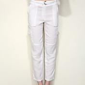 Mujer Casual Activo Tiro Medio Rígido Delgado Chinos Pantalones,Un Color Lino Primavera Verano
