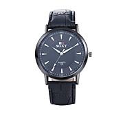 Hombre Reloj de Vestir Reloj de Moda Reloj de Pulsera Cuarzo Resistente al Agua Piel Banda Negro Marrón