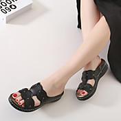Mujer Zapatos PU Verano Talón Descubierto Sandalias Plataforma Flor Blanco / Negro