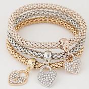 Feminino Pulseiras com Pendentes Amor Jóias de Luxo Europeu bijuterias Estilo simples Moda Multi Camadas Strass Imitações de Diamante Liga
