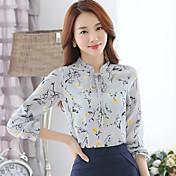 Mulheres Camisa Casual Moda de Rua Todas as Estações,Estampado Preto / Cinza / Amarelo Raiom / Poliéster Colarinho Chinês Manga Longa Fina