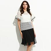 婦人向け お出かけ Tシャツ,シンプル ラウンドネック パッチワーク ホワイト / グリーン ポリエステル 半袖 薄手