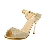 Mujer Zapatos PU Primavera / Verano Talón Descubierto Sandalias Tacón Stiletto Punta abierta Cristal / Lentejuela / Purpurina Dorado /