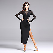 私たちはラテンダンスドレス女性のパフォーマンススプリットフロントドレスをしなければならない
