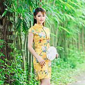 符号2016夏の新しい遊びレトロな蝶の花柄のシルクのドレス中国の改良されたチャイナドレス