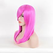 女性 人工毛ウィッグ ショート丈 ストレート ピンク ナチュラルウィッグ ハロウィンウィッグ カーニバルウィッグ コスチュームウィッグ