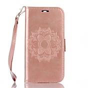billetera de cuero en relieve de mandala de cuerpo completo para htc m8 fundas / fundas para htc