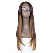 Mujer Pelucas sintéticas Encaje Frontal Liso Marrón peluca de encaje Las pelucas del traje