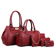女性 バッグ オールシーズン 牛側 バッグセット 5個の財布セット のために カジュアル ブラック フクシャ ブルー ワイン