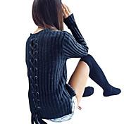 Mujer Largo Pullover Casual/Diario Vacaciones Noche Sexy Simple Chic de Calle,Un Color Azul Escote Redondo Manga Larga PoliésterOtoño