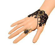 ジュエリー クラシック/伝統的なロリータ ブレスレット ビンテージ プリンセス ブラック ロリータアクセサリー ブレスレット 蝶結び レース ゼブラプリント ために レース 人工宝石