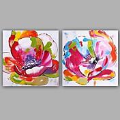 Pintada a mano Abstracto Floral/Botánico Clásico Estilo europeo Lienzos Pintura al óleo pintada a colgar Decoración hogareña Dos Paneles