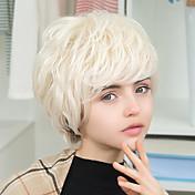 ヨーロッパ系アメリカ人のスタイル斜め前髪短い自然な波状huamn髪の毛のかつら