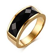 Maxi anel Anel ônix Ágata Aço Titânio Moda Dourado Jóias Diário Casual 1peça