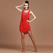 私たちはラテンダンスドレス女性スパンデックスクリスタル/ラインストーンハイドレス