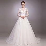 Corte en A Princesa Joya Corte Tul Vestido de novia con Cuentas Lentejuela Apliques Botón por LAN TING BRIDE®