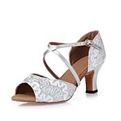 Mujer Latino Zapatillas de Baile Moderno Salsa Zapatos de Swing Brillantina Lentejuelas Tacones Alto Entrenamiento Principiante