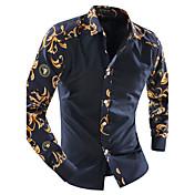 Langærmet Krave Herre Blå Houndstooth mønster Simpel Afslappet/Hverdag Skjorte,Bomuld