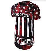 カジュアル/普段着 Tシャツ,シンプル ラウンドネック プリント レッド ブラック コットン 半袖