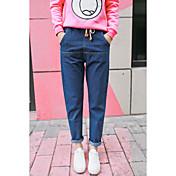Mujer Casual Tiro Medio Inelástica Corte Ancho Pantalones,Corte Ancho Otros Color puro