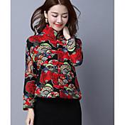 新しい秋と冬の女性' sの国民の風のレトロの女性モデル埋め綿のジャケット短いパラグラフのステッチプリントコットン