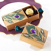 50pcs caja de caramelos de pavo real favores de la boda caja