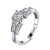 指輪 パーティー 日常 カジュアル ジュエリー ジルコン 銅 銀メッキ 指輪 婚約指輪 1個,6 7 8 9 シルバー