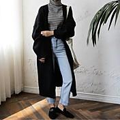長袖のセーターのコートの女性のカーリングの韓国人女性の長いセクション