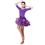 ラテンダンス ワンピース 女性用 訓練 プロミックス 2個 3/4スリーブ ナチュラルウエスト ドレス ショートパンツ