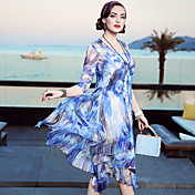 Mujer Corte Ancho Vestido Noche Casual/Diario Playa Simple Sofisticado,Floral Escote Redondo Hasta la Rodilla Seda Primavera Verano Tiro