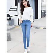 かなり細いウエストゴムのジーンズ女性の足の鉛筆のズボンの女性のズボンの女性の春の新しい韓国語版に署名