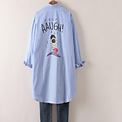 肥料の2017春新韓国語バージョンは、200ポンド記号を底サイズの女性漫画長袖シャツを高めるために