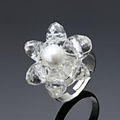 指輪 結婚式 パーティー Halloween 日常 ジュエリー 合金 ラインストーン 指輪 1ペア,調整可 シルバー