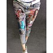 Mujer Floral Alta cintura strenchy Ajustado Pantalones,Florales N/A Primavera, Otoño, Invierno, Verano