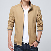 Hombre Simple Casual/Diario Invierno Otoño Chaqueta,Escote Chino Un Color Mangas largas Regular