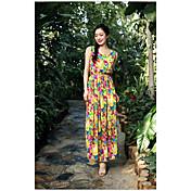 Mujer Corte Swing Vestido Vacaciones Moderno,Estampado Floral Joya Maxi Sin Mangas Poliéster Verano Media cintura Microelástico Fino