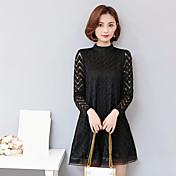 緩い底スリム韓国波状長袖のドレスに署名