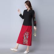サイン中国2017新しい春の国家の風レトロ綿花の刺繍半分の長さのスカートは薄い裏地だった