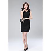 2017年春に新しいスリムな黒のノースリーブ大きなヤードの長いセクション底入れドレスのベストドレスの女性