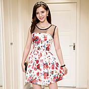 サイン夏の新しい女性' sのファッションスターファンビンビン同じ段落のレースのステッチプリントドレス