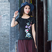 Mujer Camiseta Estampado Floral Poliéster