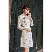 firmar de 2016 mujeres de la vendimia&# 39; s otoño nuevos literarias delgadas faldas del vestido del cheongsam del cordón impresos