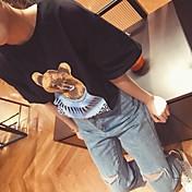 韓国人女性に署名薄い緩い漫画ウィニーは、学生を底半袖Tシャツラウンドネックを印刷し、