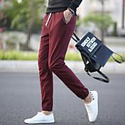 男性用 パンツ ミッドライズ マイクロエラスティック パンツ パンツ, コットン ポリエステル ソリッド オールシーズン