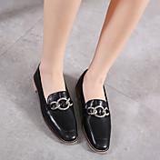 Mujer-Tacón Plano-Mocasín-Zapatos de taco bajo y Slip-Ons-Informal-PU-Negro Rosa