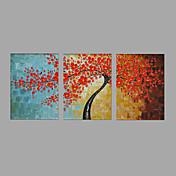 手描きの 風景 花柄/植物の 横長,Modern 田園 3枚 キャンバス ハング塗装油絵 For ホームデコレーション