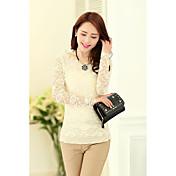 春の新人女性韓国スリムラウンドネック長袖レースシャツガーゼシャツシャツ