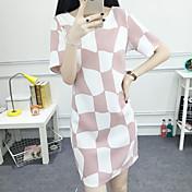 2017夏の新しいスリム薄いストレート型のピンクのチェック柄の単語韓国のショッピング女性に署名