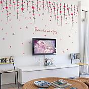 Blomster Vægklistermærker Fly vægklistermærker Dekorative Mur Klistermærker,Vinyl Materiale Hjem Dekoration Vægoverføringsbillede