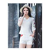 Mujer Moderno Tiro Medio Microelástico Pantalones Pantalones, Floral Poliéster Verano
